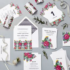 wedding stationery Collections | Lucy Says I Do Floral Folk Mexican folk inspired, bright and beautiful