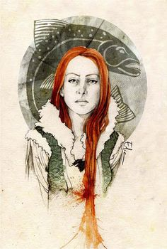 Catelyn Tully - Game Of Thrones - elia-illustration Ned Stark, Sansa Stark, Catelyn Stark, Tully Game Of Thrones, Game Of Thrones Art, Jaime Lannister, Watercolor Sketch, Watercolor Portraits, Art Magique
