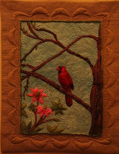 Treasured Feathers  is one of the many pieces featured in  The Sketchbook Challenge book   by Sue Bleiweiss.  Beautiful design and spectacular FMQ.  Source: finishing lines