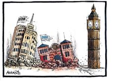 7 July 2014 - As institutions face accusations of historical abuse and are crumbling in the aftermath, Adams leaves us with no question over which institution is next. Accusations, Big Ben, Cartoons, Politics, Leaves, This Or That Questions, Comics, Building, Face