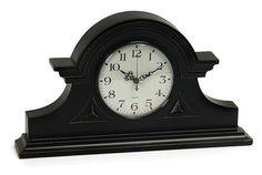 "Black Mantel Clock 8.5""""h x 15""""w x 2.75"""""