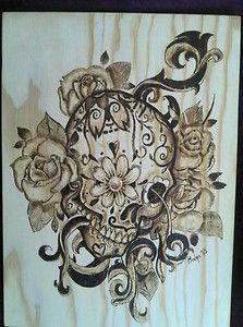 Mexican skull, pyrography wood plaque