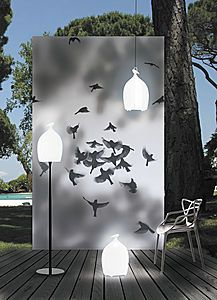 Cage lights - I love the lights used in on this deck and the bird backdrop.  It looks so smart.  It would make a perfect photo backdrop or simply just for display.