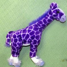"Vintage 1994 PETTING ZOO Purple Giraffe 18"" Tall Poseable Plush Stuffed Animal  #ThePettingZoo"