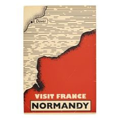 Vintage travel To Normandy France Metal Print  $156.23  by bartonleclaydesign  - custom gift idea