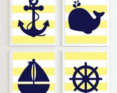 NAUTICAL PRINTS Nautical Navy and Lime set of 4 by PrincessSnap