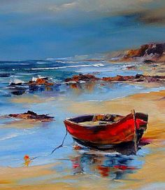 Red Fisherman's Boat On The Shores Of The Mediterranean Sea - Photography, Landscape photography, Photography tips Watercolor Landscape, Landscape Art, Landscape Paintings, Watercolor Art, Sailboat Painting, Boat Art, Seascape Paintings, Acrylic Paintings, Pictures To Paint