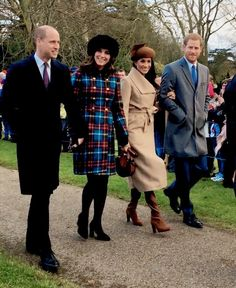 the fab four: Prince William, Duke of Cambridge, the Duchess of Cambridge, Meghan Markle, and Prince Harry walk together to St Mary Magdalene Church for Christmas Day service with the Royal Family, December 25th, 2017