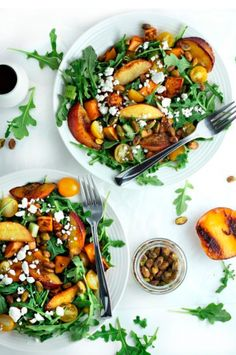 Grilled Peach and Sweet Potato Salad. Grilled Peach and Sweet Potato Salad with Honey Balsamic Vinaigrette - perfect for summer! Grilled Peach Salad, Grilled Peaches, Vegetarian Recipes, Cooking Recipes, Healthy Recipes, Keto Recipes, Zuchinni Recipes, Vegetarian Salad, Pescatarian Recipes