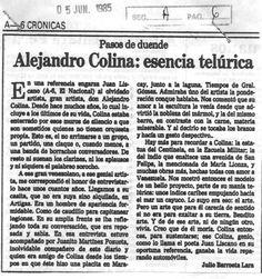 Alejandro Colina: Esencia telúrica. Publicado el 05 de junio de 1985.