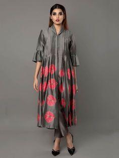 Grey Pink Silk Chanderi Tunic By Ritu Jain Singh