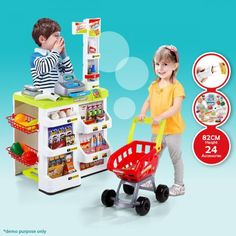 $34.94,Save $95.01 - Stand- 52cm x 45cm x 82cm        Trolley-20cm x 35.5cm x 40.5cm - Get a Pretend Play Multi-functional Supermarket at CrazySales.com.au - This Pretend Play Multi-functional Supermarket is sure to provide hours of educ