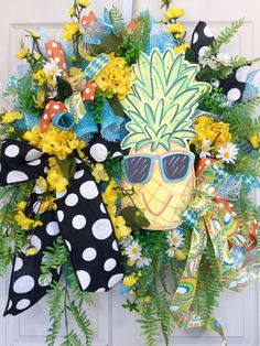 Whimsical Pineapple Mesh Spring and Summer Wreath by WilliamsFloral on Etsy https://www.etsy.com/listing/385724998/whimsical-pineapple-mesh-spring-and