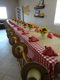 Love this table setup!  Get bandannas, straw hats, sunflowers and more at Flower Factory www.flowerfactory.com