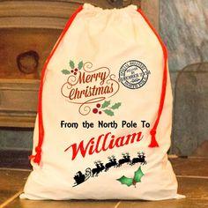 Large Personalised Santa Sack Merry Xmas Father Christmas Stocking Happy Bag  #Generic