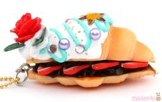 rose white turquoise icing croissant sandwich dessert figure from Japan - Kawaii Shop Japan Dessert, Croissant Sandwich, Modes4u, Cute Desserts, Kawaii Shop, Cute Designs, Icing, Sandwiches, Turquoise