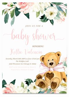 Teddy Bear Baby Shower Invitations Best Of Teddy Bear Baby Shower Invitation Teddy Bear Girl Baby Tortas Baby Shower Niña, Baby Shower Oso, Deer Baby Showers, Teddy Bear Baby Shower, Baby Shower Cards, Baby Girl Shower Themes, Baby Shower Invitations For Boys, Bear Girl, Baby Bows