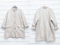 1980s Vintage Ivory Parka Coat with a Wool Lining by CoverVintage, $45.00