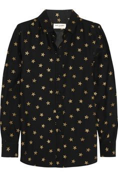 Saint Laurent's shirt is decorated with gold stars - a recurrent motif of the label. It has been made in Italy from soft silk crepe de chine in an elegant slim fit. Wear it as part of an all-black outfit to reference Hedi Slimane's glamorous rock chic aesthetic. Get the look at NET-A-PORTER