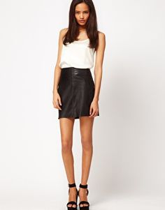 Silky top, leather skirt, yes.