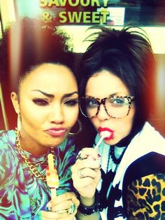 Leigh-Anne and Jesy from twitter: Day out in bricklane :D #selfie timmmeee!