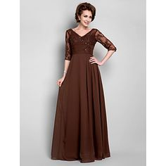 Lanting A-line Plus Sizes / Petite Mother of the Bride Dress - Chocolate Floor-length Half Sleeve Chiffon / Lace – USD $ 99.99
