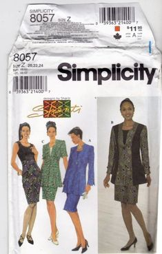 Princess seams for a timeless fit -   so pretty! Simplicity 8057 Pattern uncut 20 22 24 Fit Flare Jacket Sleeveless Dress Designs By Shanti