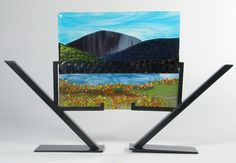 Mountain and Lake Scene fused glass panel Kandinsky, Sculpture, My Glass, Glass Panels, Decoration, Fused Glass, Artwork, Mixed Media, Scenery