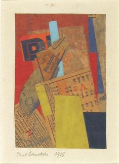 """Kurt Schwitters. Untitled (V 2). 1928. Cut-and-pasted colored and printed papers and ink on cardboard. 10 5/8 x 8"""" (26.8 x 20.2 cm). The Sidney and Harriet Janis Collection. 652.1967. © 2016 Artists Rights Society (ARS), New York / VG Bild-Kunst, Bonn. Drawings and Prints"""