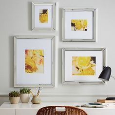 $179  Gallery In A Box Frame Set - Mirror #WestElm  9x11, 13x13, 14x17, 16x20   tempered glass; removable, acid-free paper mat; mirrored frame