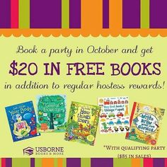 Book Party Are you on Facebook? Book a Facebook Party with me and get a free Usborne  book of your choice up to $20 with a qualifying party!! Also get DOUBLE hostess rewards! Comment with your email address or message me at www.facebook.com/ilovebooks  #freebooks Usborne Books & More  Other