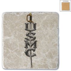 (COASTER)-(Single natural stone coasters are made of solid Italian Botticino Marble Cork-backed. Imprinted directly on the stone .)-(USMC SWORD)-(white ivory slightly marbled smooth finish with tumble