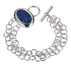 Beguiled Carabian Drusy Silver Bracelet from ELLE Jewelry