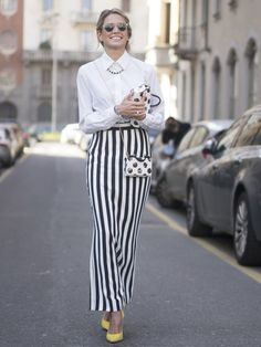A Button-Up Met With a Striped Maxi and Polka-Dot Accessories