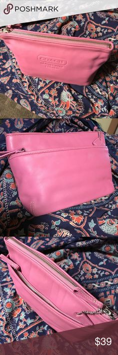 "Coach Pink Leather Clutch Cosmetic Travel Bag Beautiful leather!! Very nice bag, 11""x7""x2.5"". Roomy with main zip compartment and side zip compartment. 3 separate areas inside. Nice, easy to clean lining. This bag is in excellent condition!! Two pics show small impression in leather. Coach Bags Clutches & Wristlets"