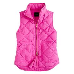 J.Crew Excursion quilted vest ❤ liked on Polyvore featuring outerwear, vests, j crew vest, puffy vests, puffer vest, vest waistcoat and pink puffer vest
