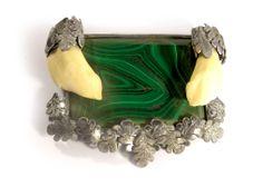 Malachite silver brooch