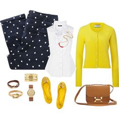 """""""Yellow and Navy Blue"""" by rysheda-1 on Polyvore"""