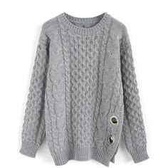 3006b1c33f35e Chicwish Chic Exploration Cable Knit Sweater in Grey (€51) ❤ liked on  Polyvore
