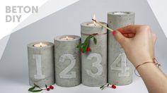 DIY//Beton Adventskranz | Kerzenständer mit Zahlen Prägung | concrete ca...