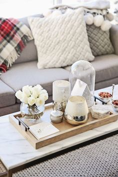 dont forget to go down the candle isle at homegoodsthis little container with rope on it gave me an organic feel for the coffee table happybyd - Living Room Table Decor