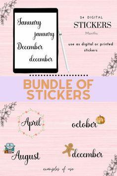 Handwritten Month Names, GoodNotes Stickers, Digital Bullet Planner Journal, Journal Cards, Free Stickers, Printable Stickers, Journal Stickers, Planner Stickers, Name Of Months, Dotted Bullet Journal, Basic Image