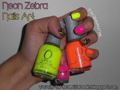 Skittles & Neon Zebra Nails nail art nails design creative nails