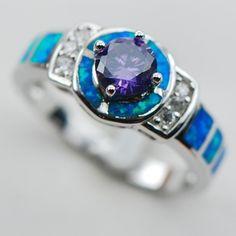 $10.39 Amethyst Blue Opal 925 Sterling Silver Ring Size 6 7 8 9 10 R1320