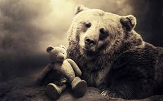 bear photos free | Image Bear and its teddy bear Free Beautiful HD Desktop Wallpaper