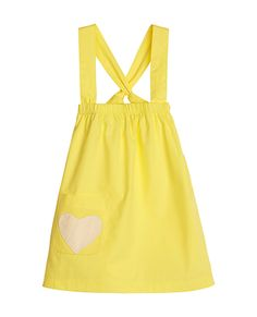 Sapling Cross My Heart Dress - Lemon Sherbet - $34.95 - Stylish, sweet and comfortable!  Gorgeous Cross My Heart dress by now iconic organic baby wear label Sapling!  Wear it alone or layer with a long sleeve top underneath on cooler days! #littlebooteek #girls #fashion #designer #sapling