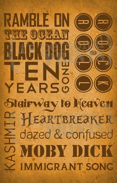 Items similar to Led Zeppelin Song Titles Subway Art on Etsy Music Love, Music Is Life, Rock Music, Led Zeppelin Songs, Immigrant Song, El Rock And Roll, Greatest Rock Bands, Concert Posters, Music Posters