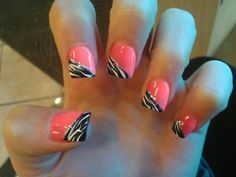 Hot Pink Nails with Zebra Tips Hot Pink Nails, Love Nails, How To Do Nails, Pretty Nails, Fun Nails, Bright Nails, Zebra Nails, Leopard Nails, Manicure Y Pedicure