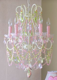 5 Arm Diva Chandelier with Pink and Green Crystals at The Frog and the Princess