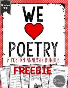 We HEART Poetry! A Poetry Analysis FREEBIE for Grades 4-8